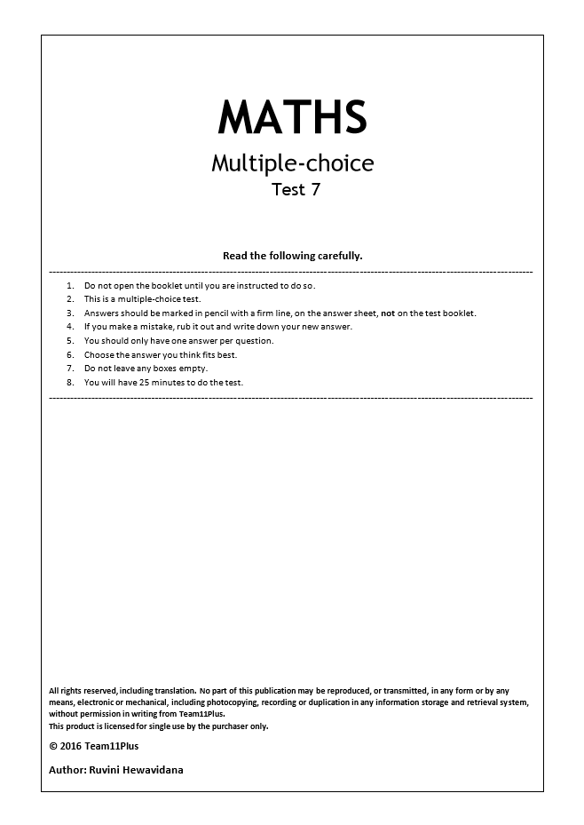 Team 11 Plus Maths Practice Paper (Test 7) Download